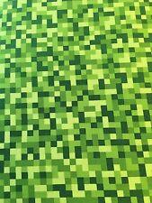 Michael miller cotton fabric FQ Quilting Green Bitmap Pixel Like MineCraft