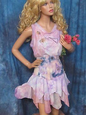 Aus Dem Ausland Importiert Vintage Lavendel Batik Jeanshemd Tank Top Kostüm Seide Blütenblatt Mod Hippie
