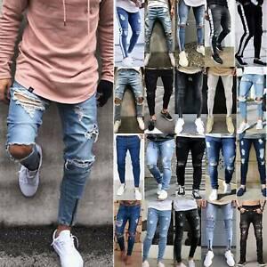 Men-Ripped-Biker-Skinny-Jeans-Frayed-Destroyed-Trousers-Slim-Fit-Denim-Pants-US