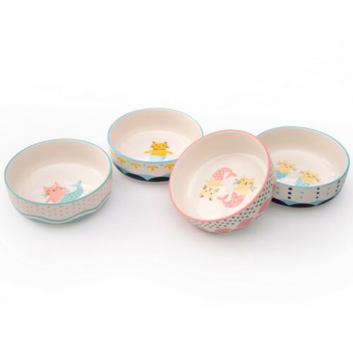 "Mer Cat Set of 4 Assorted 5/"" Cat Bowls by Signature Housewares"
