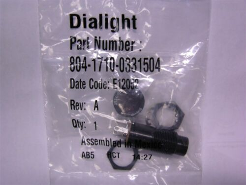 Dialight 804-1710-0331-504 Incandescent Red Press-To-Test 3-Term Lamp Assembly
