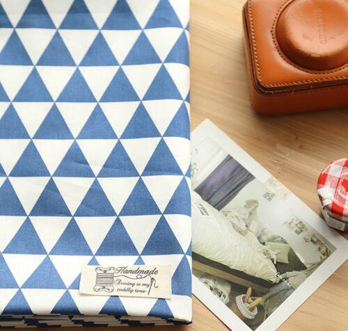 Blue triangles 100/% Cotton Twill Fabric PER YARD Scandinavian triangle JC4//68*