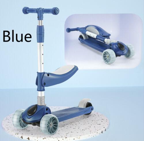 3-Wheel Kick Kids Scooter W// Foldable Seat and Flash Light Wheels Adjustable US