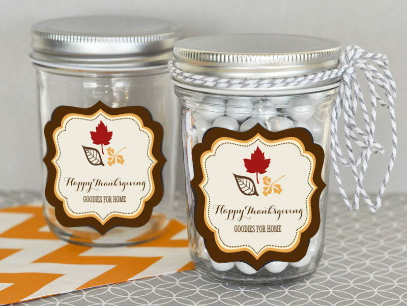 24 Personalized Thanksgiving Theme Mini Mason Jars Thanksgiving Party Favors
