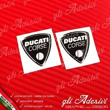 2 Adesivi Resinati Sticker 3D Ducati Corse Old Black 40 mm