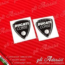 2 Adesivi Resinati Sticker 3D Ducati Corse Old Black40 mm