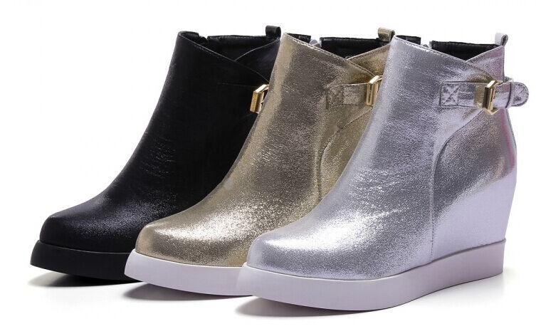 Botines botas zapatos de mujer cuña interior 7 cm mode como piel cómodo 9007
