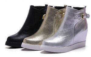último estilo de 2019 últimas tendencias de 2019 más de moda Detalles de Botines Botas Zapatos Cuña Interior 7cm Moda Piel Sintético  Cómodo 9007