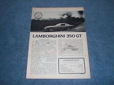 1965 Lamborghini 350 GT Vintage Road Test Info Article