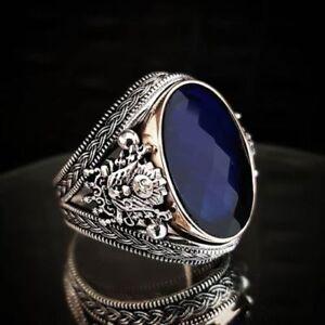AAA-QUALITE-Bague-Chevaliere-Argent-massif-925-Sterling-Serti-Ceylan-Bleu-Saphir