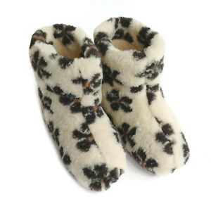 Merino's Sheep Wool Boots Cosy Foot Slippers Sheepskin Womens Ladies Snowflakes