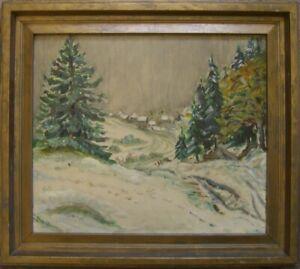 1934-EXPRESSIONIST-ESM-OLGEMALDE-SIGNIERT-TANNEN-DORF-WALD-RAHMEN-ANTIK-OL