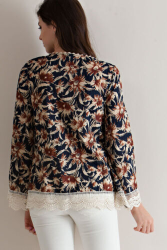 Entro Top Size S M L Daisy Boho Lace Tunic Long Sleeve Anthropologie Womens New