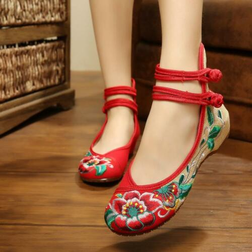 Women/'s Chinois Mary Jane Broderie Florale Flats Chaussures Confortable BALLET NEUF