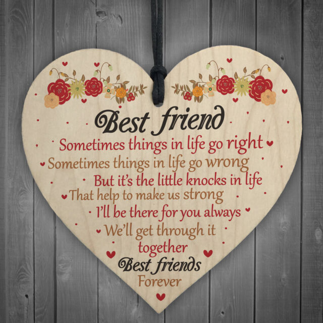 Best Friends Forever Friendship Hanging Heart Special Love Gift BFF Sign Present