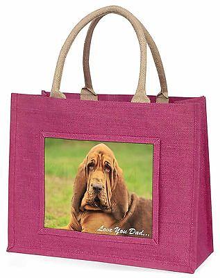 Dachshund Hund 'Liebe dich Papa' Große Rosa Einkaufstasche Weihnachten Vor,