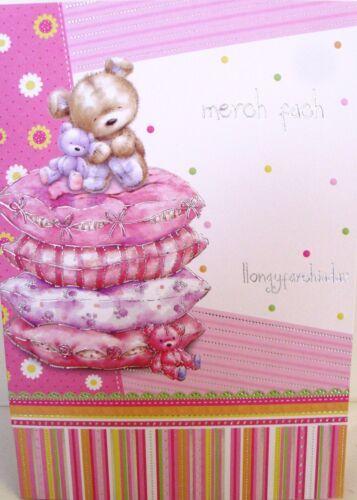 "/""Merch Fach Llongyfarchiadau/"" Welsh Language New Baby Girl Congratulations Card"