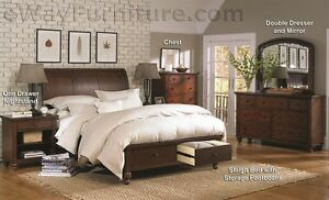 Details about NEW BROWN CHERRY SLEIGH STORAGE BED QUEEN MASTER BEDROOM  FURNITURE SET