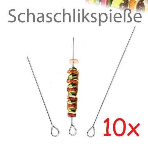 10x Edelstahl Schaschlikspieße Grillspieße Fleischspieße Fleischspieß Schaschlik
