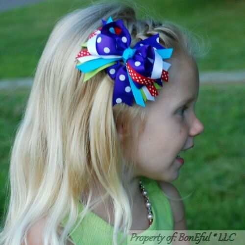 "BonEful RTS NEW Girl Boutique Hair*Bow 4/"" Ribbon Purple Red Green Aqua Blue OOAK"