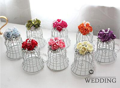 Luxe White Bird Cage Wedding Gift Box Favors Metal Birdcage Candy Decor