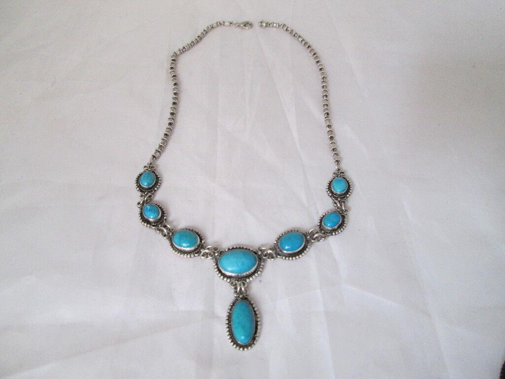 Collar para women. silver de ley 925 milésimas y turquesas bluees. Cadena