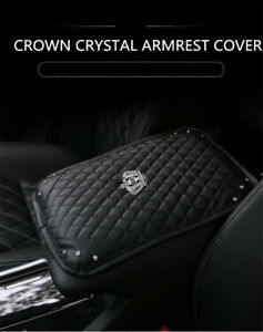 Crown-Bling-Diamond-Rhinestone-Black-Leather-Armrest-Box-Rail-Pad-Mat