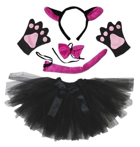 Halloween Xmas Animal Party Adult Women Headband Bow Tail Paw Skirt 5pc Costume