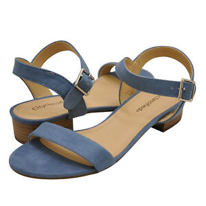 d8caf9ed62b Details about Women's Shoes City Classified REFER Open Toe Short Heel  Sandals DUSTY BLUE