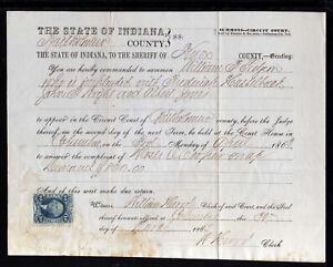 8S144-1869-COURT-SUMMONS-BARTHOLOMEW-COUNTY-INDIANA-C-W-R36b-REVENUE-STAMP