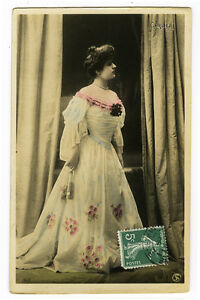 c 1910 Vintage French Theater Mlle CARLIER tinted photo postcard