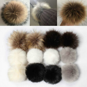 10cm-12cm-Large-Faux-Raccoon-Fur-PomPom-Ball-Press-Button-for-Knitting-Hat-Lot
