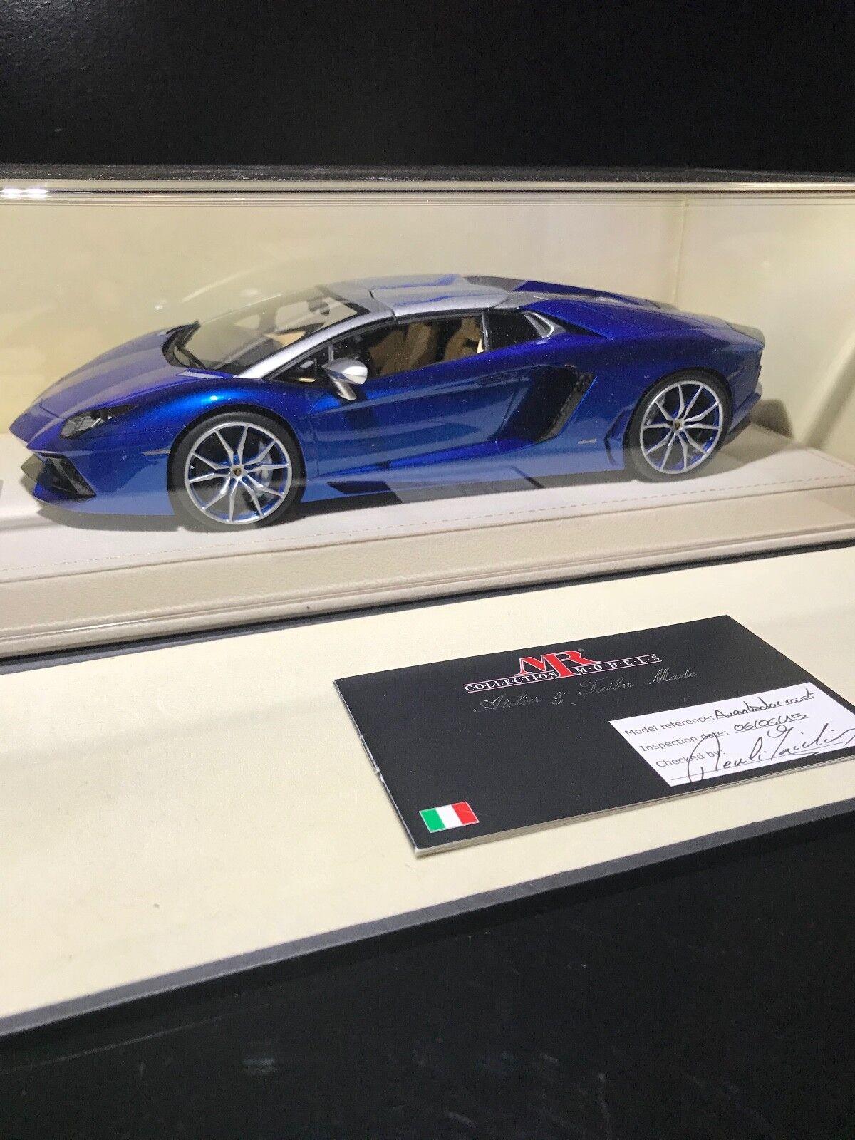 1 18 Mr Collection Lamborghini Aventador Bleu Argent 01 01 Ultimate Rare LIMITED ED