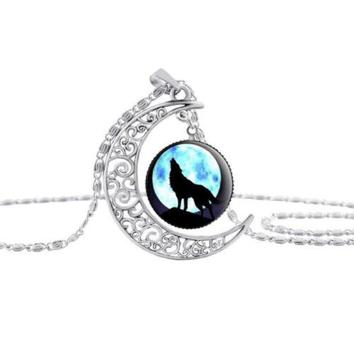 Women/'s Vintage Wolf Cabochon Tibetan Silver Verre Chaîne Drop Pendentif Collier