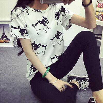 New Women Cartoon Pug Printed Short Sleeve Tops Casual T-Shirt Loose Blouse