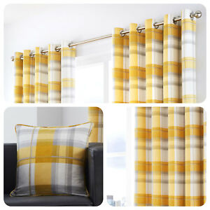 Fusion-BALMORAL-Ochre-Mustard-Yellow-Tartan-100-Cotton-Curtains-amp-Cushions