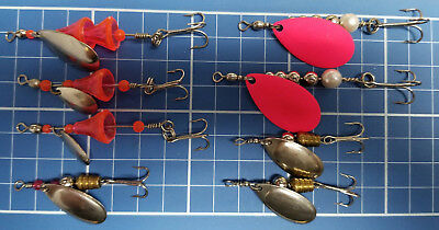 Vintage Lucky Strike Double Spinners 2-Pack with Mustad Hooks Various Sizes,