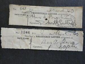 2 MALTA 1920/40 REGISTERED LETTER RECEIPTS