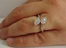 925 STERLING SILVER LADIES OPEN END TEAR DROP RING W/2.50 CT DIAMONDS/ SZ 5 TO 9