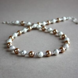Silver-stardust-bronze-brown-pearl-beaded-collar-choker-wedding-bridal-necklace