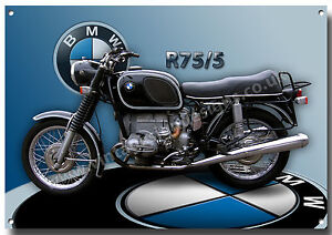 bmw r75 5 motorrad metall schild 1970 39 s vintage bmw. Black Bedroom Furniture Sets. Home Design Ideas