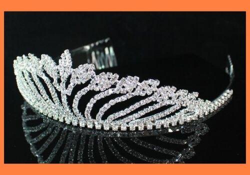 LEAF CRYSTAL TIARA HAIR COMB BRIDAL WEDDING PROM T204S