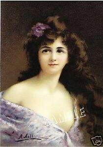VICTORIAN-LADY-in-LILAC-Gown-CANVAS-ASTI-Giclee-Art-Print-LARGE-13-034-x-19-034