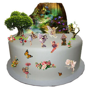 Image is loading Enchanted-Forest-Flower-Fairy-Cake-Scene-Edible-Premium-  sc 1 st  eBay & Enchanted Forest Flower Fairy Cake Scene Edible Premium Wafer Paper ...