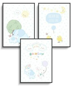 Details zu Wandbilder A4 Deko 3er Set Baby Tiere Poster Kinderzimmer  Geschenk Mädchen Junge
