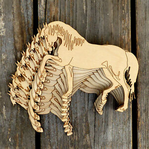 10x-Wooden-Walking-Horse-With-Head-Down-Craft-Shape-3mm-Ply-Pet-Animals-Horse