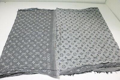 Louis Vuitton Cotton Monogram Essential Stole Gris Gray Ebay