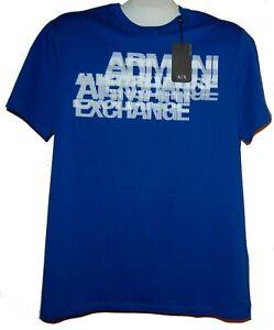 Armani-Exchange-Blue-White-Logo-Design-Cotton-Men-039-s-T-Shirt-Sz-2XL-Slim-Fit