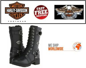 Details about Harley Davidson D83736 Women's Eda 9 Inch Boots. Inside Zipper Lace Front USA CO