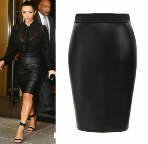 Women Plus Size Ladies Wet Look Faux Leather Pencil Stretch Midi Skirt 6-22*Wtmd